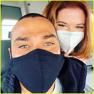 Sarah Drew & Jesse Williams Reunite on 'Grey's Anatomy' Set!