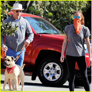 Jon Hamm & Girlfriend Anna Osceola Take His Dog for a Walk Around the Neighborhood