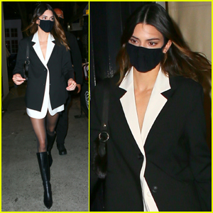 Kendall Jenner Rocks Tuxedo Dress for Night Out in NYC