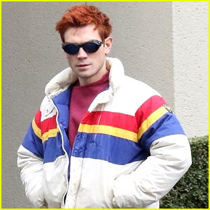KJ Apa's Hair Matches His Jacket While On A Walk in Vancouver