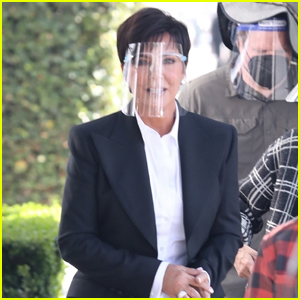Kris Jenner Stays Safe Behind Face Shield While Filming a New Commercial