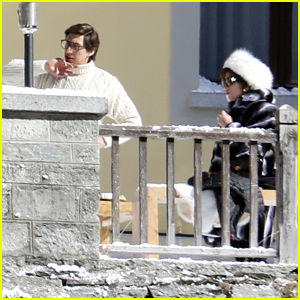 Lady Gaga Wears A White Fur Hat To Film 'House of Gucci' with Adam Driver