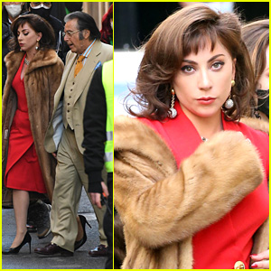Lady Gaga Is The Real Lady In Red While Filming 'House of Gucci' With Al Pacino