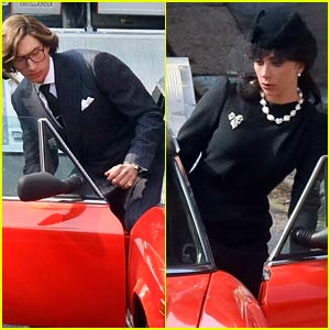 Lady Gaga Films Funeral Scene for 'House of Gucci' with Co-Star Adam Driver