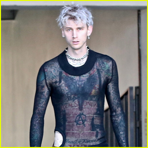 Machine Gun Kelly Shows Off Tattoos in Mesh Shirt While Out to Lunch