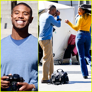 Michael B. Jordan & Chante Adams Dance Outside The Met While Filming 'Journal For Jordan'