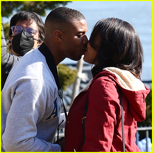 Michael B. Jordan Kisses Co-Star Chante Adams On Set Of New Movie 'Journal For Jordan'