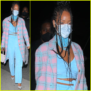 Rihanna Steps Out To Dinner In a Cool Blue Jumpsuit in LA