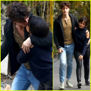 Shawn Mendes & Camila Cabello Share a Kiss While Walking Their Dog Tarzan