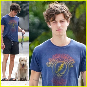 Shawn Mendes Takes Cute Pup Tarzan For a Walk In New Pics