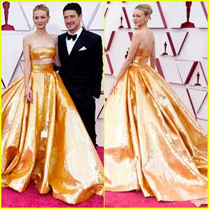 Carey Mulligan Dresses in Oscars Gold at Academy Awards 2021 with Husband Marcus Mumford