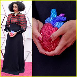 Best Original Song Nominee Celeste Carries A Human Heart Purse on Oscars 2021 Red Carpet
