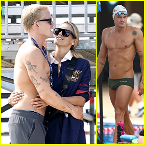 Cody Simpson Celebrates With Girlfriend Marloes Stevens After Competing In Australian Swimming Championships 2021