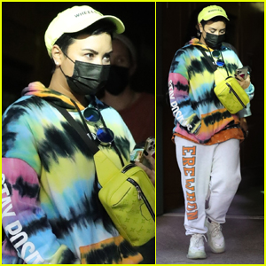 Demi Lovato Stays Cozy in Tie-Dye Hoodie While Out in Beverly Hills