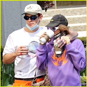KJ Apa & Clara Berry Grab Coffees To Go While Walking Her Dog in Vancouver