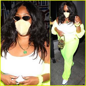 Lizzo Rocks Neon Yellow Outfit for Dinner in WeHo