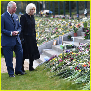 Prince Charles & Duchess Camilla View Tributes to Prince Philip Left By Mourners