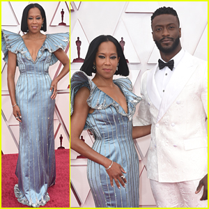 Regina King Stuns In Statuesque Louis Vuitton at Oscars 2021 With Aldis Hodge