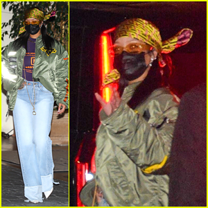Rihanna Attends Post-Oscars Party Wearing a Versace Head Scarf