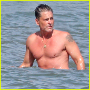 Rob Lowe Goes for a Dip in the Ocean in Santa Barbara