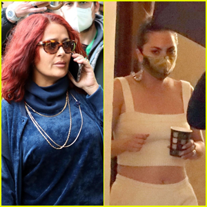 Salma Hayek Sports Red Hair on the Set of 'House of Gucci' With Lady Gaga