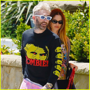 Adam Levine & Behati Prinsloo Sport Colorful Outfits While Out for Lunch
