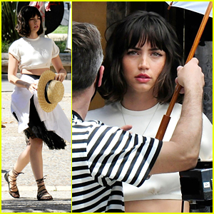 Ana de Armas Shows Off Her Blunt Bob While Joking Around On Set With 'The Gray Man' Movie Crew