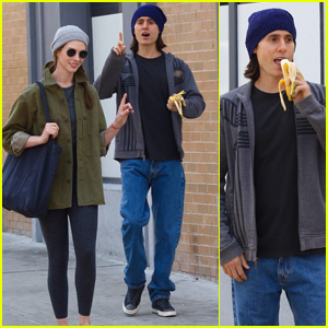 Jared Leto Snacks on a Banana While Filming New Apple TV+ Series 'WeCrashed' with Anne Hathaway