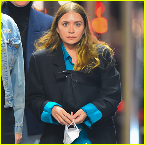 Ashley Olsen Rocks a Bright Blue Blouse for a Night Out with Friends