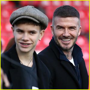 David Beckham Trolls Son Romeo After He Shows Off New Platinum Blonde Hair