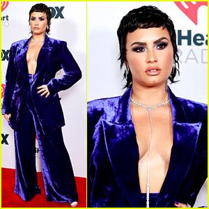 Demi Lovato Rocks a Velvet Suit at iHeartRadio Music Awards 2021