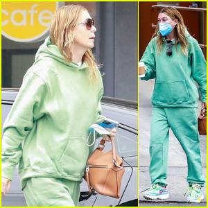 Ellen Pompeo Keeps It Comfy in Green Sweats on a Coffee Run