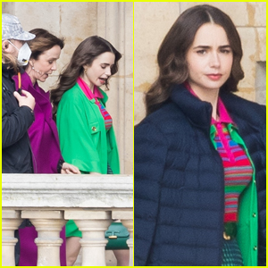 Lily Collins Looks Gorgeous in Green on the Set of 'Emily in Paris'!