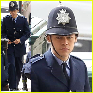 Harry Styles Photographed in Full Police Uniform on 'My Policeman' Set!