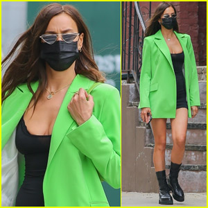 Irina Shayk Rocks Bright Green Jacket While Out in NYC