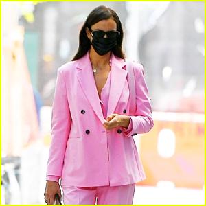 Irina Shayk Brightens the NYC Sidewalk in a Pink Suit