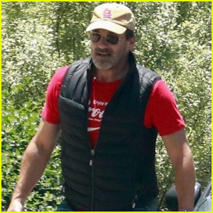Jon Hamm Soaks Up the Sunny Weather While Taking His Dog for a Walk