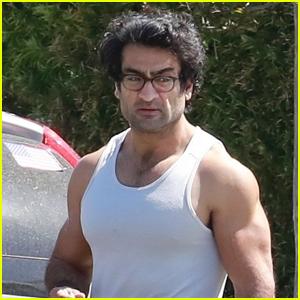 Kumail Nanjiani Flaunts His Massive Muscles in Tight Tank Shirt!