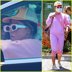 Lady Gaga Keeps a Low Profile in All Pink Outfit While Out in Malibu