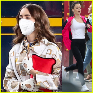 Lily Collins Goes for a Jog on the Set of 'Emily in Paris'