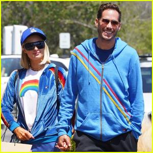 Paris Hilton & Fiance Carter Reum Coordinate in Blue for Lunch in Malibu