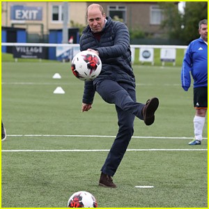 Prince William Plays Soccer During First Day of Scotland Tour
