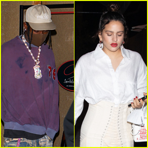Rosalia Stuns in White After Grabbing Late-Night Dinner with Travis Scott