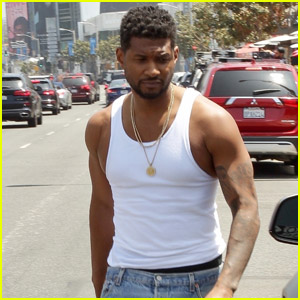 Usher Shows Off His Muscles in Tank Shirt While Shopping in WeHo