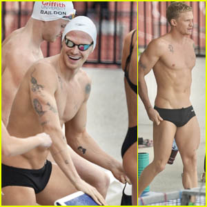 Cody Simpson Chats with Some Fellow Swimmers During Training for the Australian Olympic Trials