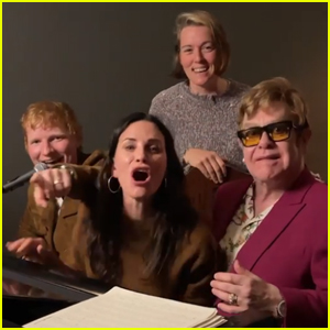 Courteney Cox Recruits Ed Sheeran, Elton John, & More for 'Tony Danza' Performance for Lisa Kudrow - Watch!