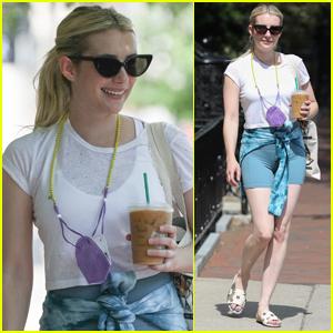 Emma Roberts Rocks Biker Shorts for Coffee Run in Boston