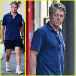 Hugh Grant Shows Off His Legs While Picking Up Takeout in London
