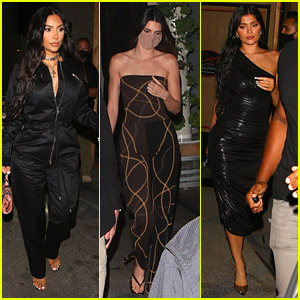 Kim Kardashian Grabs Dinner With Sisters Kylie & Kendall Jenner in LA