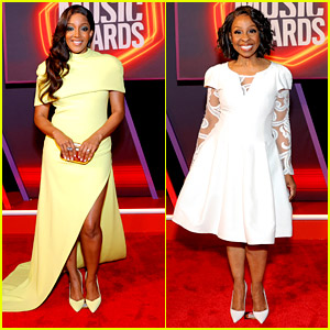 Mickey Guyton Lights Up CMT Awards 2021 Red Carpet With Gladys Knight